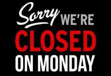 Maandagen gesloten!